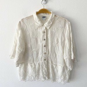 Johnny Was Embroidered Roses Boho Top Size S